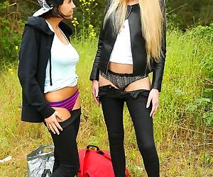 Tall blonde teen minx fucking a small cutie outdoors well..