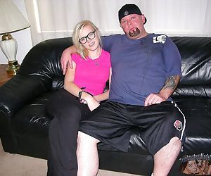 Blonde amateur nerd with glasses gives big bald dude..