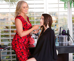 Dress-wearing blonde milf hairdresser fucks a dark-haired..