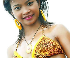 18 year old thai teen in tiger bikini at the beach flashes..