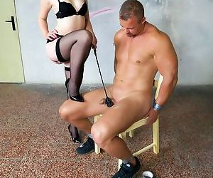 Blonde chick Lovita Fate tortures and jerks on the cock of..