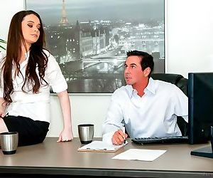 Skirt wearing secretary Tessa Lane gets on desk to seduce..