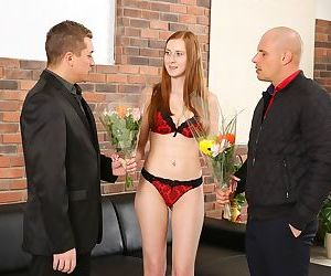 Young redhead Linda Sweet plays pissing games and gets DP..