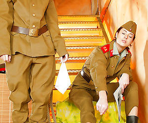 Hot lesbians stripping off their army uniform and playing..