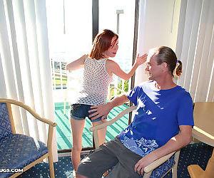 Freckle faced redhead Alyssa Hart jerks off her..