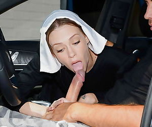 Naughty nun Alexa Nova taking a long cock in her pierced..