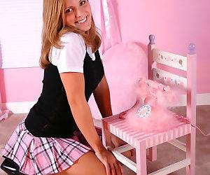 Cute schoolgirl Karen flashing pany upskirt & posing in..