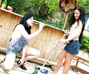 Lusty lesbian teen babes take off shorts to kiss and toy..