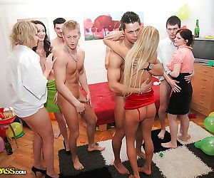 Salacious coeds spend some good time with male strippers..