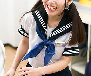 Cute Japanese schoolgirl lifts her skirt to masturbate for..