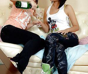 Smoking hot lesbian teens Dasha B & Karen I playing with..