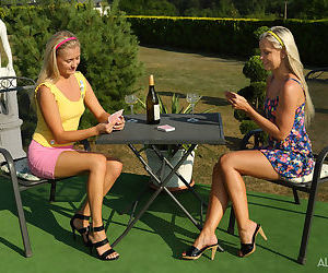 Blonde amateurs get drunk before playing lesbian foot..