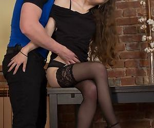 Teen first timer Stefany A gets nailed hard in black nylons