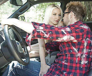 Sweet teen babe Stevie Shae gives a blowjob and gets..