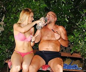 Kinky european babe gets pissed on and banged by an oldman..