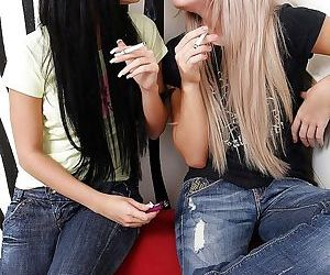 Steamy lesbian sex of two teen hotties Cristal May and..