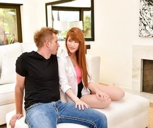 Redhead teen gwen stark gets a big dick hard before she..