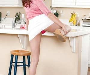 Cutie Christine Paradise pulls panties aside for..