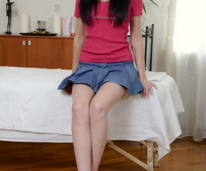 Black-haired teen Karlie came to Chuck for a massage which..