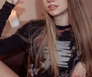 Sexy young April does a hot striptease to spread naked &..