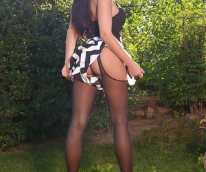 Leggy Euro babe Lucy Li uses Ben Wa balls to masturbate..