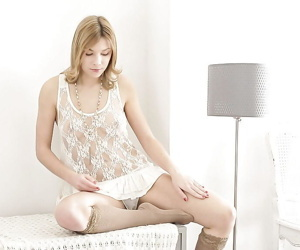 Busty teen solo girl in knee socks masturbating hairy vagina