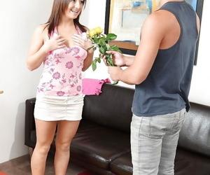 First class blowjob from a stunning brunette teen Katey to..