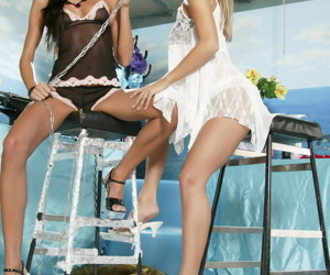 Hot teen babes getting off in intense lesbian fetish action
