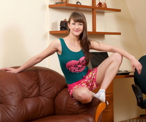 Cute young Veronika Eve shows her small tits & toys her..