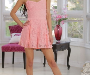 Latina girl with long hair Katya Rodriguez licks a long..