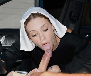 Naughty nun Alexa Nova taking a long cock in her pierced..