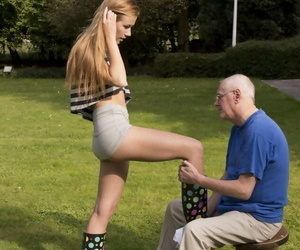 Skinny teen girl has sex with a really old man in rubber..