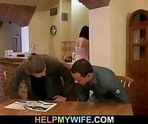 Hot brunette wife cuckolds old husband