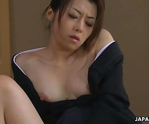 Asian widow getting dirty with her sex toys