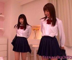Cute asian schoolgirls lesbo fun at sleepover - 8 min HD