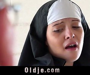 Old man makes young monastery nun fornicateHD