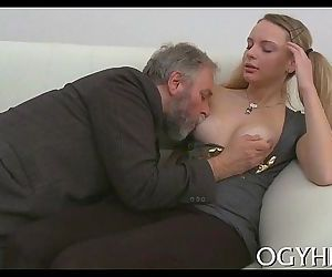 Juvenile hottie licked by old dude