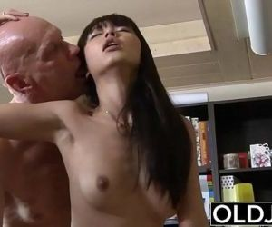 Asian Young Babe Fucked by bald old man she sucks dick pussy sex swallows - 6 min HD