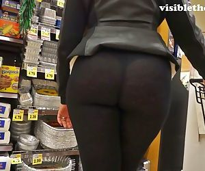 See-through leggings visible thong booty 25