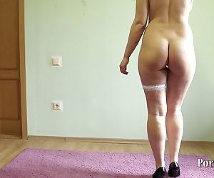 Young slim girl with small tits, heels!