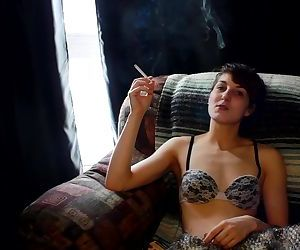 Teen smokes and plays