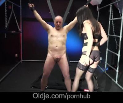 Cute brunette spank an old man in wild sex