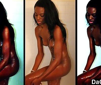 Skinny ebony caught while she takes a shower and masturbates for the camera - 5 min HD