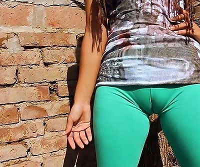 Big Cameltoe Teen In Ultra Tight Leggins! Big Round Ass n Tits - 1 min 9 sec HD