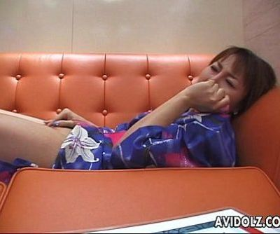 Kimono wearing Asian brunette plays with her toy - 8 min