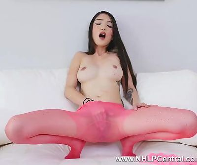 Petite babe Jericha Jem clad in pink sheer nylon pantyhose fingers pussy