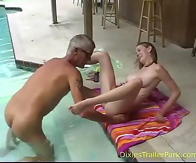 Naked dad and daughter take a swim 8 min