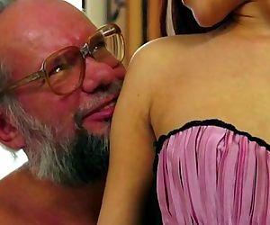 Old man enjoys Lyens crotchless..