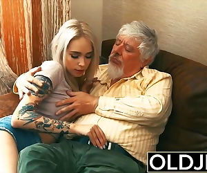 Tattooed hooker fucked by old man..