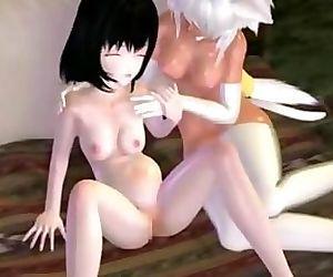 3D Lesbian Threesome